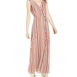 WAYF Red Multi Stripe Dress